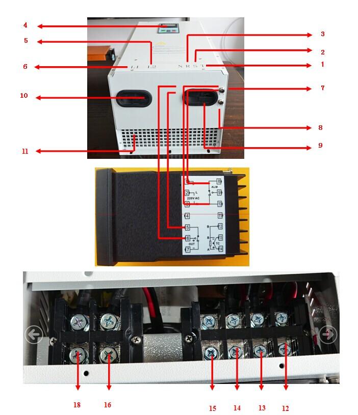 三相全桥10kw电磁加热器部件名称和接线图